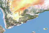 Yemen  Satellite Image with Bump Effect  with Border
