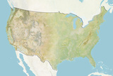 United States  Relief Map with Border and Mask