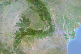 Romania  Satellite Image with Bump Effect  with Border