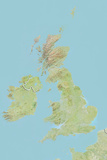 British Isles  Relief Map with Border