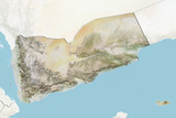Yemen  Relief Map with Border and Mask
