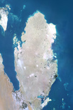 Qatar  True Colour Satellite Image with Border