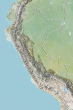 Peru  Relief Map with Border