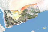 Yemen  Satellite Image with Bump Effect  with Border and Mask