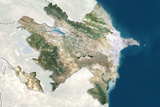 Azerbaijan  True Colour Satellite Image with Border and Mask