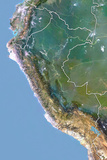 Peru  Satellite Image with Bump Effect  with Border