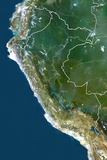 Peru  True Colour Satellite Image with Border
