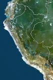 Peru  True Colour Satellite Image with Border