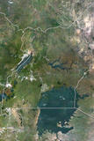Uganda  True Colour Satellite Image with Border