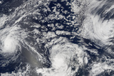 Satellite Image of Hurricanes Kenneth  Jova and Max  Pacific Ocean  in 2005