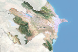 Azerbaijan  Satellite Image with Bump Effect  with Border and Mask