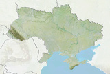 Ukraine  Relief Map with Border and Mask