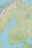 Finland  Relief Map with Border
