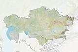 Kazakhstan  Relief Map with Border and Mask