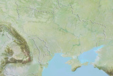Ukraine  Relief Map with Border