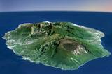 Satellite Image of Piton De La Fournaise Volcano in 3D  Reunion Island