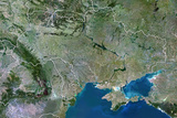 Ukraine  True Colour Satellite Image with Border