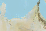 United Arab Emirates  Relief Map with Border
