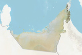 United Arab Emirates  Relief Map with Border and Mask