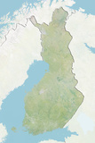 Finland  Relief Map with Border and Mask