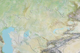 Kazakhstan  Relief Map with Border