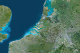 Satellite Image of Rhine  Meuse and Scheldt Delta  Netherlands