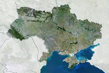 Ukraine  True Colour Satellite Image with Border and Mask