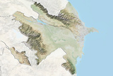 Azerbaijan  Relief Map with Border and Mask