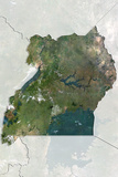 Uganda  True Colour Satellite Image with Border and Mask