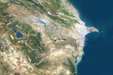 Azerbaijan  True Colour Satellite Image with Border