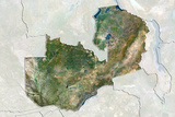 Zambia  True Colour Satellite Image with Border and Mask