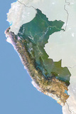Peru  Satellite Image with Bump Effect  with Border and Mask