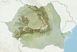 Romania  Relief Map with Border and Mask