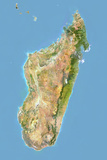 Madagascar  Satellite Image with Bump Effect  with Border