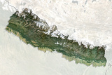 Nepal  True Colour Satellite Image with Border and Mask