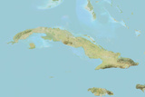 Cuba  Relief Map with Border