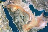 Saudi Arabia  True Colour Satellite Image with Border