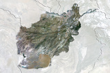 Afghanistan  True Colour Satellite Image with Border and Mask