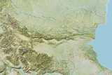 Bulgaria  Relief Map with Border