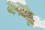 Costa Rica  Relief Map with Border and Mask