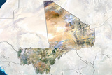 Mali  True Colour Satellite Image with Border and Mask
