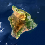 Satellite Image of Mauna Loa Volcano  Hawaii  USA