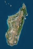Madagascar  True Colour Satellite Image with Border