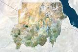 Sudan  True Colour Satellite Image with Border and Mask