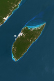 Satellite Image of Cozumel Island  Mexico
