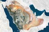 Saudi Arabia  True Colour Satellite Image with Border and Mask