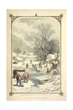 Winter Snow Scene - Animals and People in the Snow