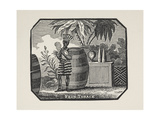 (Possibly Tribal) Man With Large Barrels and Palm Tree