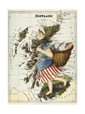 Map Of Scotland As a Woman Carrying a Basket Of Fish