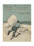 Colour Illustrated Cover Showing a Boy Scout Watching a Ship On the Horizon Giclée